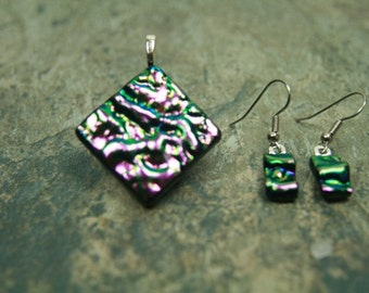 Dichroic Glass Jewelry, Fused Glass Pendant, Earrings, Purple/Green ripple glass s22