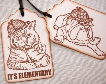 Sherlock Holmes Cat and Dog Gift Tags, Elementary -Set of 6 Sherlock Cat and/ or Bull Dog w/ Deerstalker Hat, Pipe and Magnifying Glass