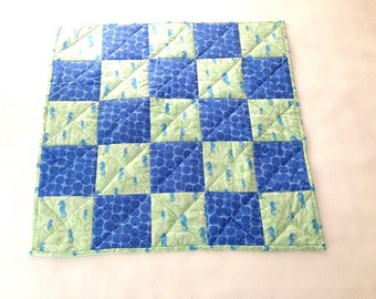 Baby Seahorse Quilt, Blue and Green Quilt, Baby Quilt, Ocean Quilt, Play Mat, Seahorse Quilt, Baby Gift