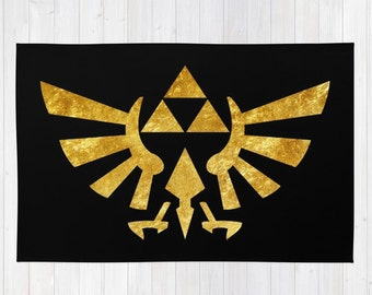 Golden Zelda Rug, The Legend of Zelda Throw Rug, Golden Triforce Rug, Hylian Royal Crest Throw Rug, Zelda Man Cave Rug