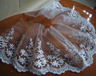 Off White Cotton Embroidered Lace Trim, scallop trim lace, floral embroidery lace trim