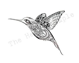 Love Bird Drawing sketch ink pen hand drawn swallow hummingbird wings illustration drawing art