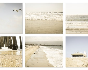 Calming Beach Photography Set of 6 5x7 prints, Ocean, Pier, Water, Waves, Surf, California, Nature, Vintage, Nautical, Pastel