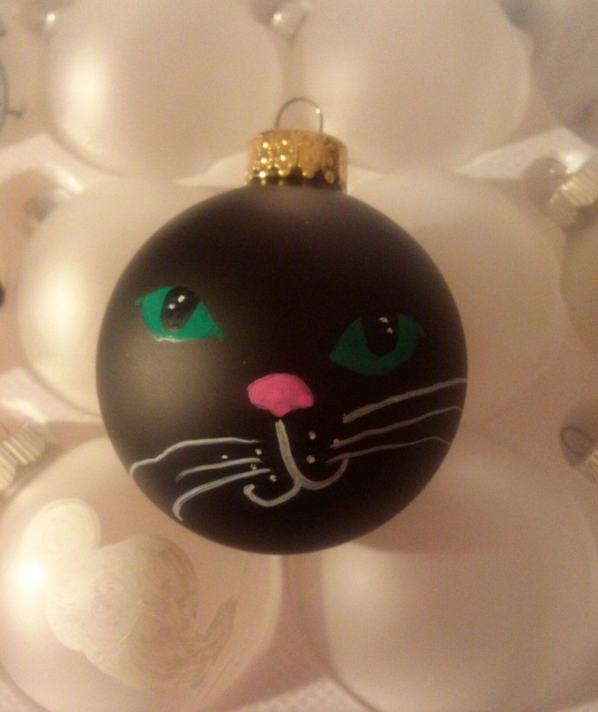 Cat Ornament Black Cat Ornament Hand-painted Cat by ...