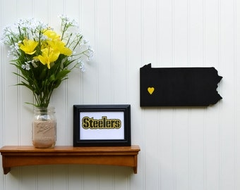 "Pittsburgh Steelers ""State Heart"" wall art, handcrafted wood with official team colors"