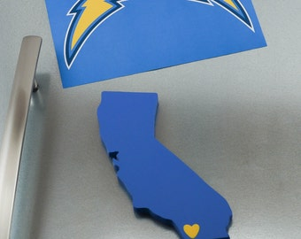 "San Diego Chargers (Powder Blue) ""State Heart"" Magnet, handcrafted wood with official team colors"