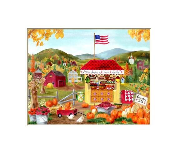 Kitchen Folk Art: Folk Art Farm Stand Americana Kitchen Art By