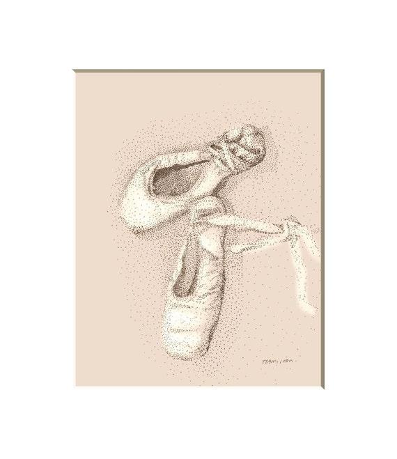 Ballet shoes art print, ballet pictures, girl's room decor, ballet art, dance art, wall art for girls, ballet decor,  8x10 print