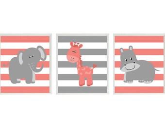 Safari Nursery Art - Elephant Giraffe Hippo Wall Art - Coral Gray Stripes Prints, Baby Girl Children Kid Room Home Decor Wall Art