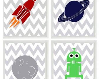 Outer Space Art Print Set - Boy Room Nursery Chevron Stripes - Planet Moon Space Ship Alien - Kid Wall Art Children Room Decor   Prints