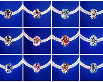 Birthstones Any Month Available Personalized Bracelet Jewelry Gift European Charm Bead Silver Plated designed to fit your bracelet