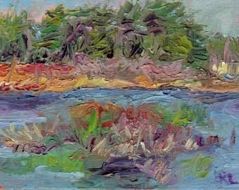 Original Plein Air Landscape Alla Prima Tonal Oil Painting Small Size