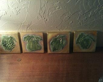 Vintage 4 Different pattern gold ceramic tile 4.25x4.25