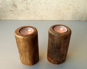 2 Wood Candle Holders - Table Centerpiece -  Wood Log Holders - White Tree Candle Holders - Wedding Decoration - Home Decoration