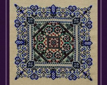 Lovers' Garden! Counted Cross Stitch Chart. Romantic Garden Design. Ornamental. Mandala. Geometric. Decor. X Stitch. DIY. Direct Checkout.