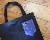 Tropical Blue Paiges Pocket Canvas Tote Bag