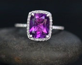 14k White Gold 10x8mm Amethyst Cushion and Diamonds Wedding or Engagement Ring (Choose color and size options at checkout)