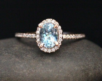 Oval Aquamarine Engagement Ring Aquamarine Rose Gold Ring with Oval 7x5mm and Diamond 14k Rose Gold Ring