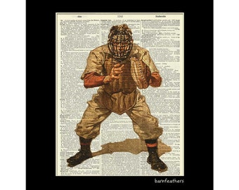 Baseball Catcher - Dictionary Art Print - Book Page Art Print - Vintage Illustration - Home Decor No. P323