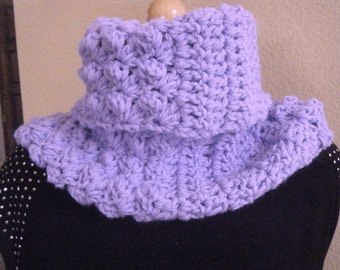 Cozy Crocheted Lilac Cowl.