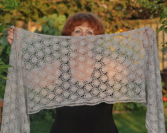 Hand knitted rectangular gray scarf with beautiful lace pattern, woolen scarf, woolen shawl, for women,