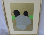 Vintage Signed Paper Cut of Two Women Original  Art by T. W. Gregory in Gold Tone Frame