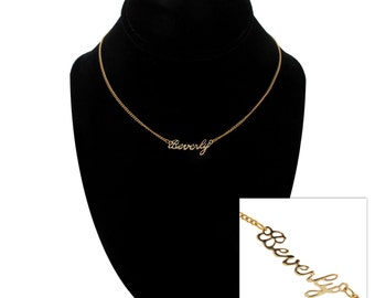 "Script Name Beverly Charm Pendant Gold Tone Necklace 16"" Vintage 70s"