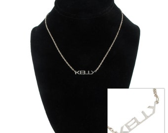 Kelly Silver Tone Name Pendant Necklace Jewelry Vintage 1970s