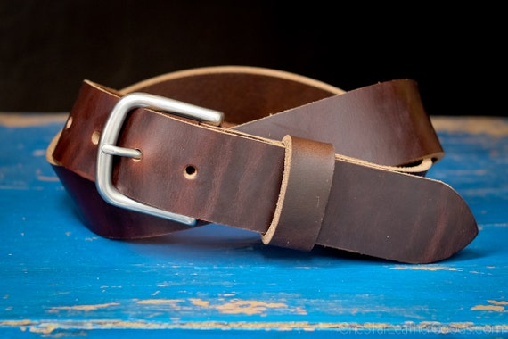 "Custom sized belt - Horween Chromexcel leather - 1.5"" width, heel bar buckle - dark brown"