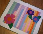 Baby Girl Quilt Bright Modern Applique flower, Custom Order