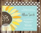 Sunflower Bridal Shower Invitation, Wedding Shower, country bridal shower, country,  sunflower, summer bridal shower, summer shower