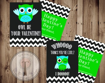 Lime and Aqua Owl Valentines INSTANT DOWNLOAD, Printable Valentine Cards, kids valentines, child valentines cards, Owl Valentine, Owls