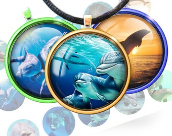 Dolphins - 1 inch rounds graphics for scrapbooking, stickers, Digital Printable 15 Bottle Cap Images File 4x6, BUY 2 GET 1 FREE