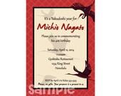 Yakudoshi Birthday Invitation, Japanese Crane, Retirement, Printable,