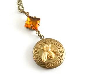 Bumble Bee Locket Necklace, Topaz Rhinestone Necklace, Honeybee Necklace, Garden Wedding