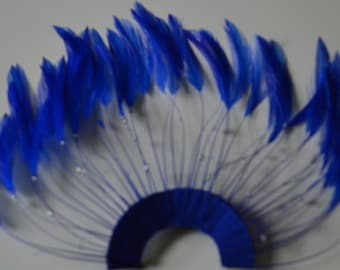 Half Pinwheel Royal Blue Hackle Feathers