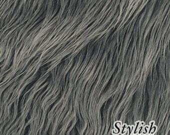 Charcoal Gray Luxury Faux Fur Fabric - 1 Yard Style 5000