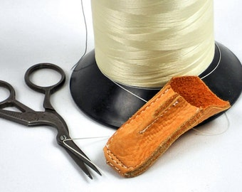 Leather Thimble, Apricot Leather Handmade Thimble, Sewing Notions, Quilters Gift,  Sewing Supplies @ MeiMei Supplies in USA