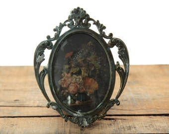 Antique Floral Print in Orante Oxidized Metal Frame