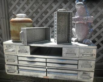 16 Drawer Silver Equipto Industrial Metal Storage Cabinet