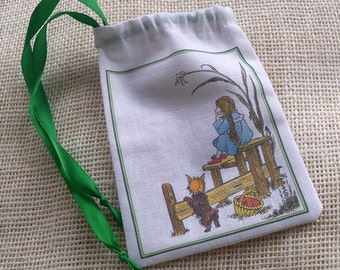 Drawstring pouch gift bag Wizard of Oz Dorothy and Toto