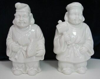 On SALE  Porcelain Figurines Gods of Japan Figures Japanese Ebisu Daikokuten God of Trade God of Agriculture MicheleACaron