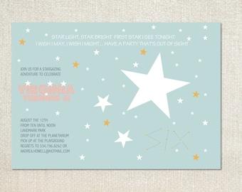 Stargazing planetarium birthday party invitations