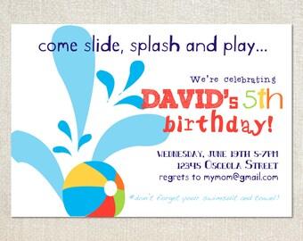 Boys pool party splash slide birthday party invitations