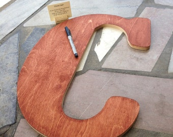 Wooden Stained Letter - GUEST BOOK ALTERNATIVE - Weddings - Birthdays - Showers - Parties