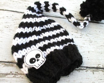 Skeleton Black & White Elf Newborn Photo Prop /Size 0-12 months / Knitted Halloween Baby Photography Prop Knitted Hat