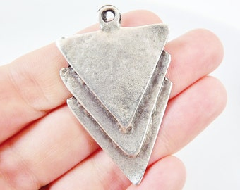 Triple Triangle Minimalist Geometric Pendant - Matte Antique Silver Plated - 1pc