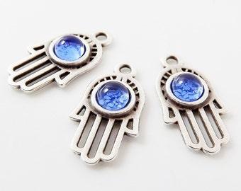 3 Small Ornate Hamsa Hand of Fatima Charms - Translucent Blue Glass Bead - Matte Silver Plated