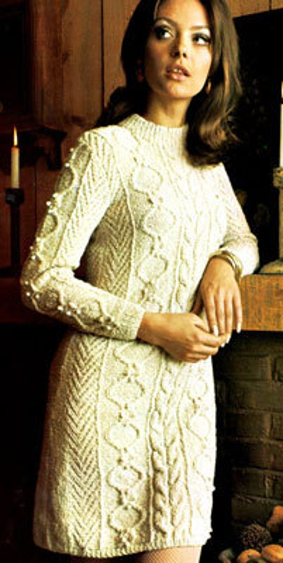 KNITTING PATTERN - Aran Sweater Dress - Cable Dress ...