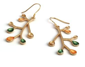 Green gold earrings, branch earrings, gold dangles, nature jewelry, enamel jewelry, twig earrings, orange and green jewelry